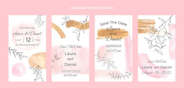 Histoires de mariage aquarelle dessinés à la main