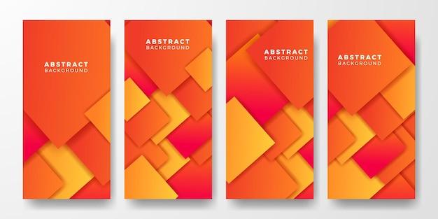 Histoires de médias sociaux couverture de bannière d'affiche de couleur orange vif abstrait carré géométrique pour futuriste et technologie