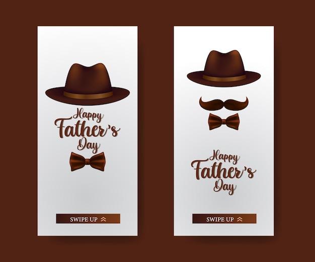 Les histoires de médias sociaux définissent une bannière pour la fête des pères avec un chapeau et une moustache