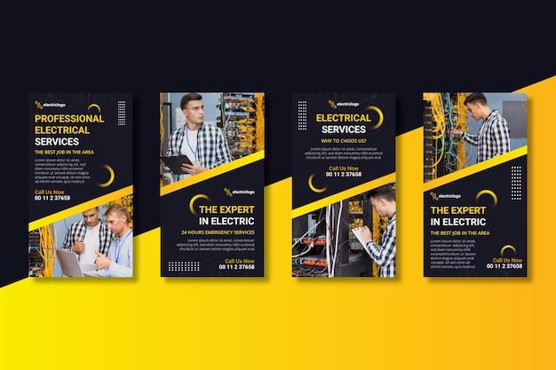 Histoires de médias sociaux d'électricien