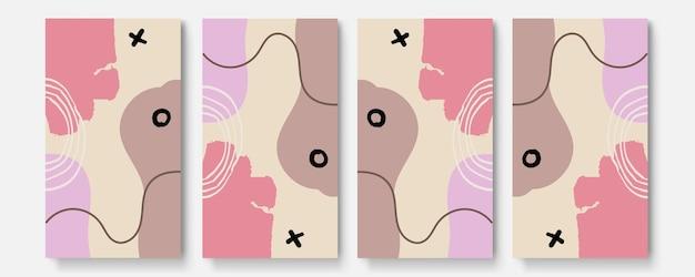 Histoires de médias sociaux et ensemble de vecteurs de modèles de publication. les formes abstraites couvrent l'arrière-plan avec un espace floral et copie pour le texte ou les images. illustration vectorielle