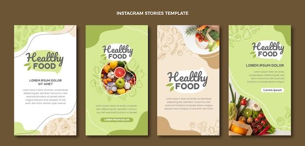 Histoires de médias sociaux de nourriture dessinées à la main