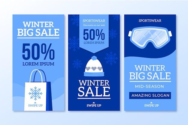Histoires sur les médias sociaux des soldes d'hiver