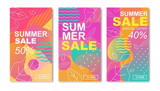 Histoires de médias des soldes d'été ou ensemble de cartes mobiles