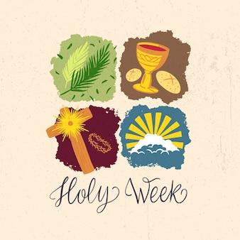 Histoires de la semaine sainte dessinées à la main