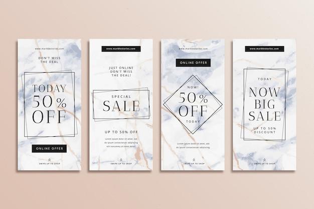 Histoires de vente instagram colorées abstraites dans un ensemble de style marbre