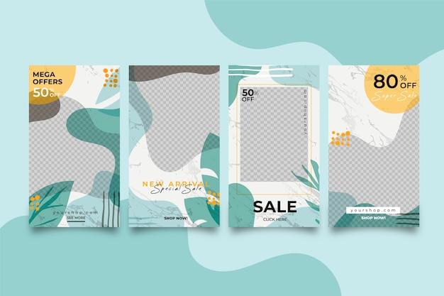 Histoires de vente instagram colorées abstraites dans un pack de style marbre