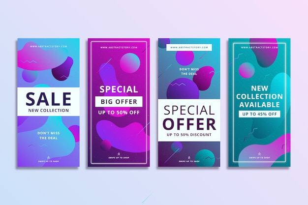 Histoires de vente instagram colorées abstraites dans un style fluide