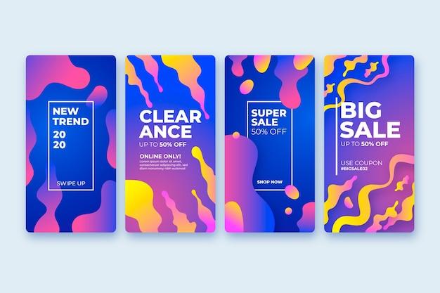 Histoires de vente instagram colorées fluides