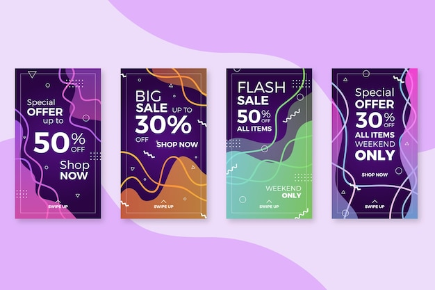 Histoires de vente en ligne abstraites colorées sur instagram