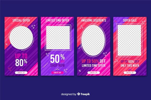 Histoires de vente sur les médias sociaux avec fond transparent