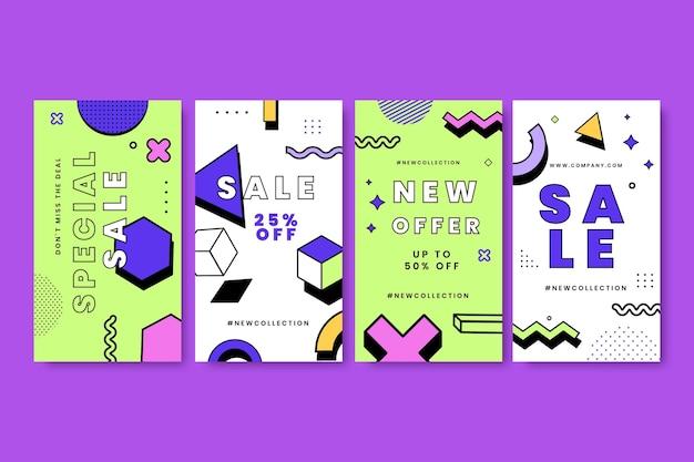 Histoires de vente de style memphis