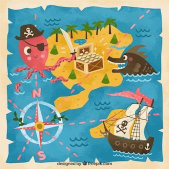 Historique de carte du trésor vintage drôle