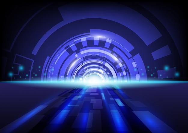 Hitech abstrait numérique technologie fond bleu.