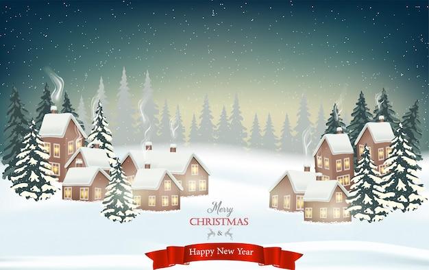 L'hiver arrive. nuit enneigée avec sapins, forêt de conifères, guirlandes lumineuses, chutes de neige, paysage boisé pour les vacances d'hiver et du nouvel an.