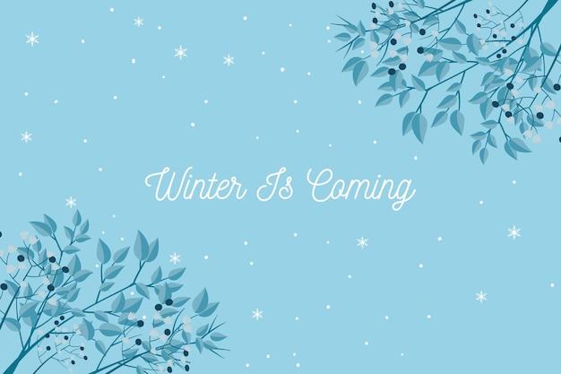 L'hiver arrive texte sur fond bleu