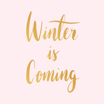 L'hiver arrive vecteur de style typographie