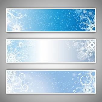 Hiver bannières à thème avec des flocons de neige et étoiles