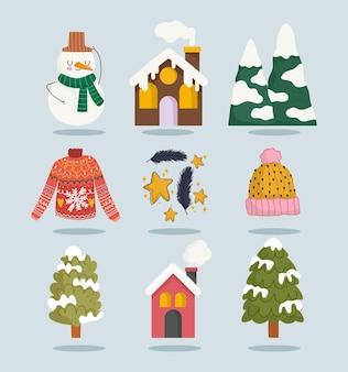 Hiver bonhomme de neige maison neige montagne arbre pull icons set cartoon