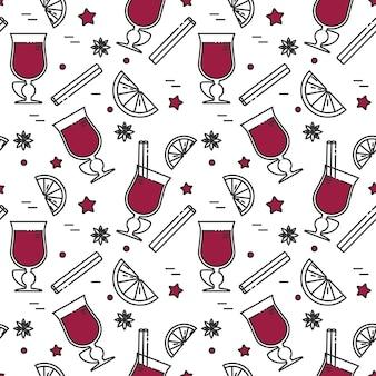 L'hiver a chauffé le modèle sans couture de vin en dessin au trait.