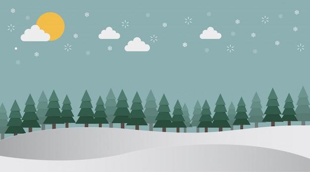 L'hiver dans la forêt de pins sur blanc neige