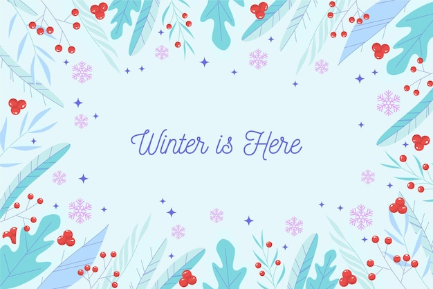 L'hiver est ici fond de lettrage