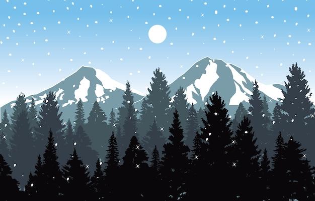 Hiver neige fond illustration montagne ciel paysage