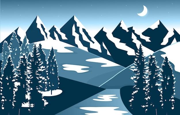 Hiver neige montagne pic pin nature paysage aventure illustration