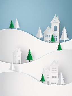 Hiver neige urbain campagne paysage ville village avec ful lmoon