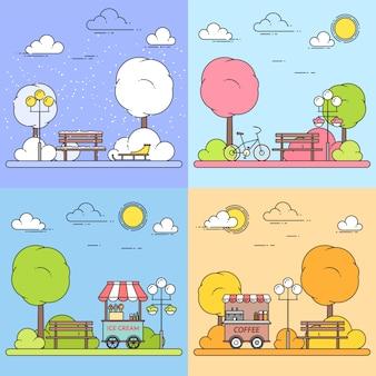 Hiver, printemps, été, automne paysages urbains avec parc central. illustration vectorielle dessin au trait. quatre saisons ensemble. concept pour la construction, le logement, le marché immobilier, la conception d'architecture, la bannière de propriété
