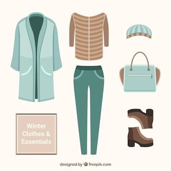 Hiver réglé avec le manteau et des accessoires