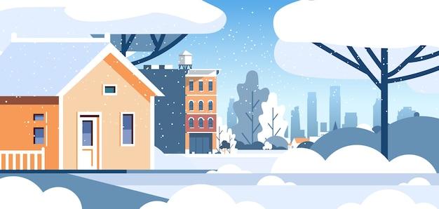 Hiver ville enneigée maison résidentielle zone paysage urbain plat illustration vectorielle horizontale