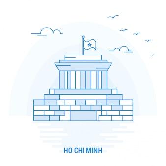 Ho Chi Minh Point De Repère Bleu Vecteur Premium