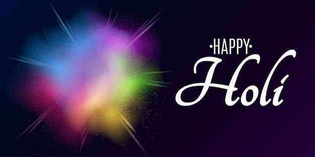 Holi festival des couleurs. explosion de couleurs. bannière festive. spray multicolore. poussière de brouillard colorée.