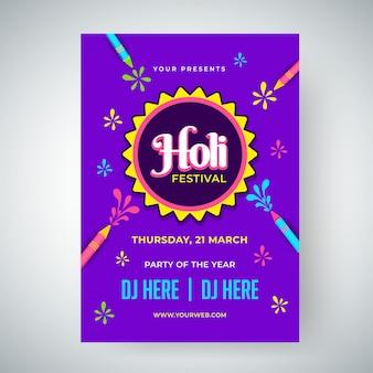 Holi festival modèle de célébration ou conception flyer avec le temps, da