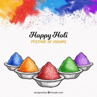 Holi fond avec cinq couleurs