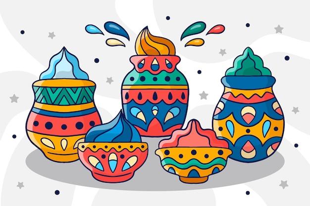 Holi gulal coloré dessiné à la main