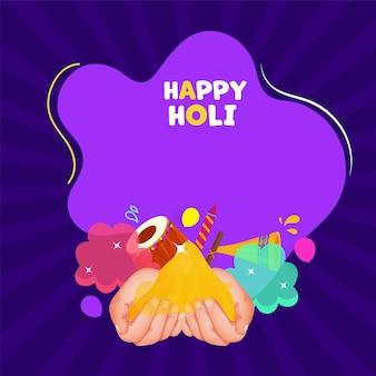 Holi hai (it's holi) texte avec les mains tenant la poudre (gulal)