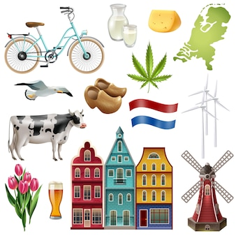 Holland netherlands travel icon set