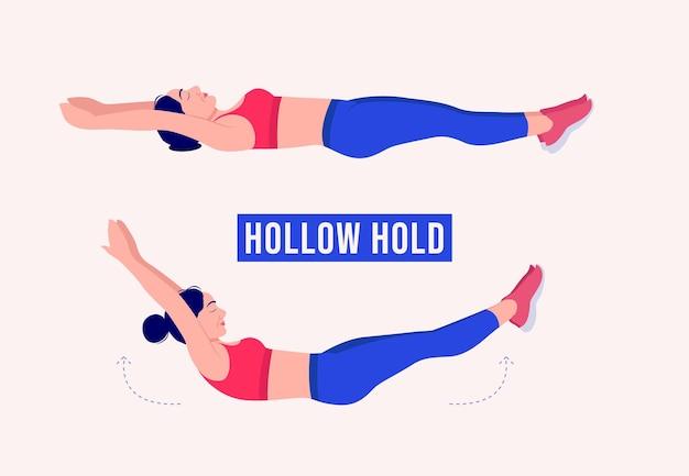 Hollow hold exercice femme entraînement fitness aérobie et exercices