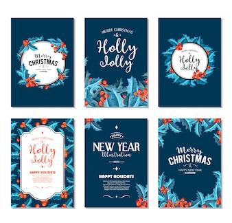 Holly Jolly - Ensemble de bannières de Noël.