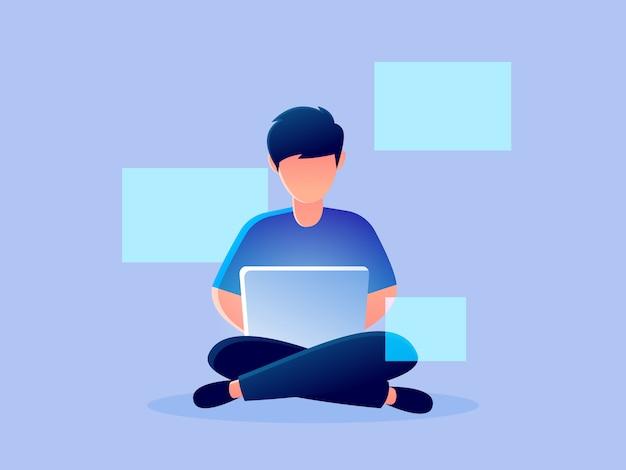 Hologramme analytique futuriste numérique travaillant illustration de conception caractère caractère
