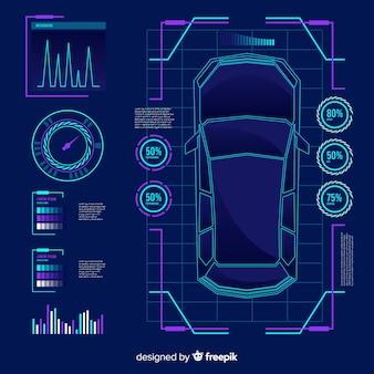 Hologramme futuriste d'une voiture