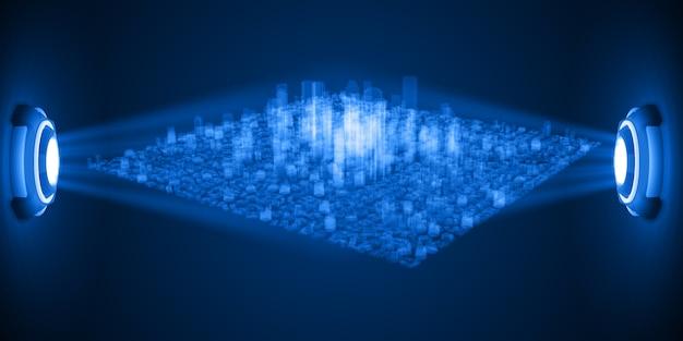 Hologramme de la ville entre le fond de la source