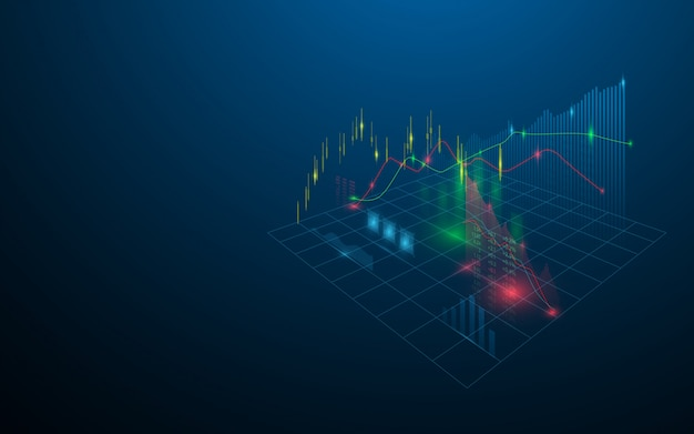 Hologramme virtuel boursier de statistiques, graphique et graphique sur fond bleu foncé