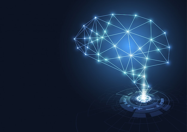 Hologrammes cerveau technologique.