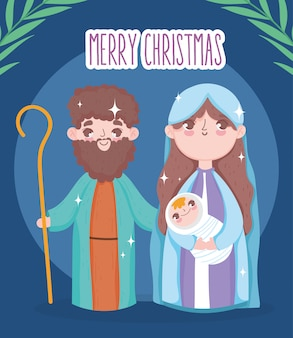 Holy mary joseph et baby jesus crèche crèche joyeux noel