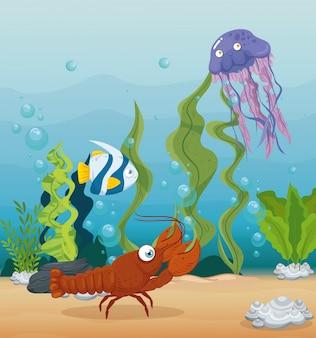 Homard et animaux marins dans l'océan, habitants du monde marin, créatures sous-marines mignonnes, faune sous-marine
