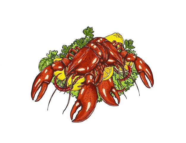 Homard aux légumes sur blanc