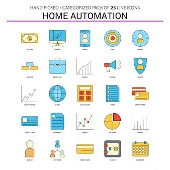 Home automation flat line icon set
